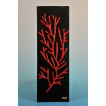 "The picture  ""the red coral on walnut wood"""